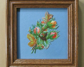 Boho Decor Floral Art Garden Roses Victorian Scrap Die Cut Scrap Framed