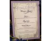 Handwritten Calligraphy and Text Vintage Wedding Menu