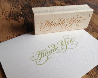 SALE Calligraphy Thank You Stamp - Darcy Large - Handwritten for cardmaking and scrapbooking