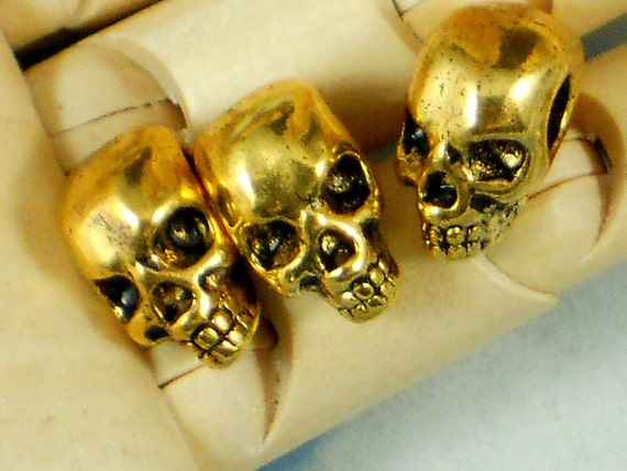 LAST 10 Large Hole Gold Skull 12mm Beads 3D Side Hole (P1024)
