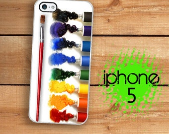 iPhone SE 5 5S Oil Paint Case | iPhone 5 Rainbow Oil Paint Set with Brush | Hard Case For iPhone 5 Plastic or Rubber Trim