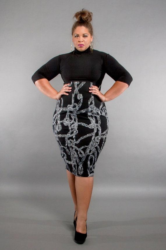 jibri plus size high waist pencil skirt gray swirl by