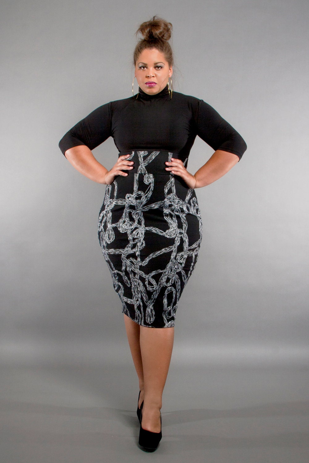 jibri plus size high waist pencil skirt gray swirl by