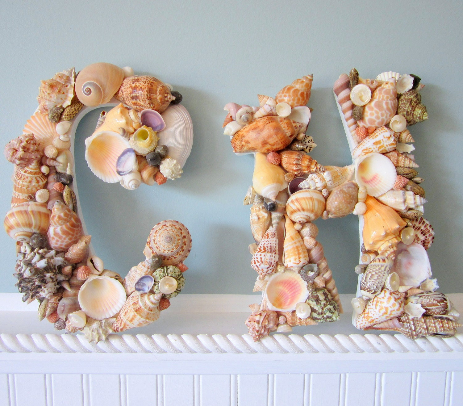 2pc shell wall letters for beach decor by beachgrasscottage. Black Bedroom Furniture Sets. Home Design Ideas