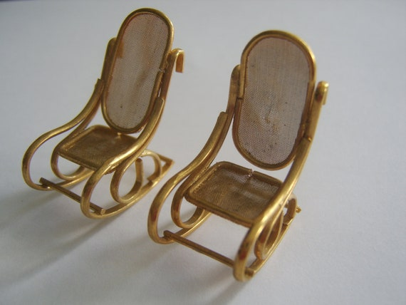 Miniature Gold Tone Rocking Chairs Set of 2