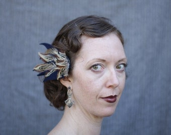 Navy Wing - Wool Felt and Feather Fascinator - 1940s