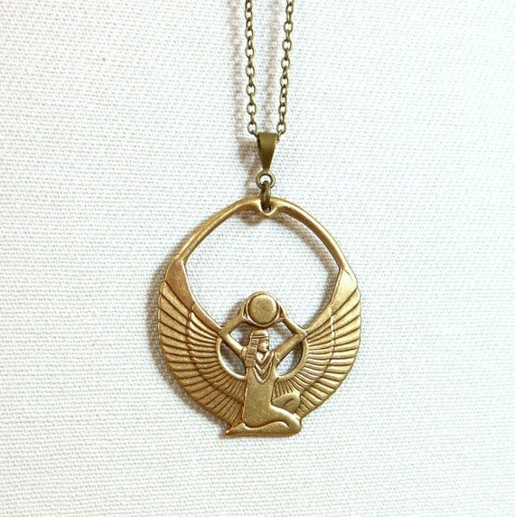 Isis necklace golden egyptian goddess pendant by GypsyTribeJewelry