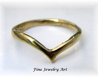 Handmade Simple Thin V Shaped Ring -14k Gold Ring Curved Bird Wings Design - Fluid Elegant & Unique Ring Design