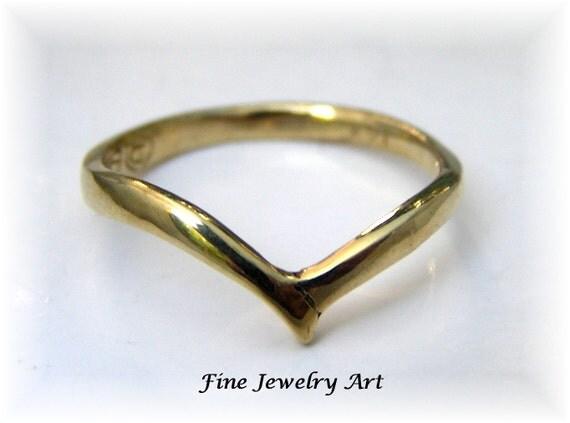 Handmade Simple Thin V Shaped Ring 14k Gold Ring Curved Bird
