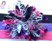 Zebra Princess Hot Pink PurpleBoutique Baby Girl Korker Hair Bow Shimmery Elastic Headband