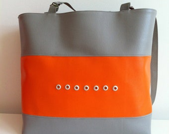 Large Tote in Orange and Gray Vinyl w/ Eyelets/Vinyl tote/gym bag in vinyl