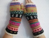 Childs/Teens fair isle fingerless gloves wrist warmers