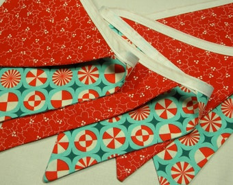 Free USA Shipping/Fabric Banner/Christmas Aqua and Red Fabric Banner/Photo Prop/Birthday Party/Nursery Decor/Fabric Pennant/Banner