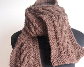 Chocolate Brown Cable and Lace Scarf, Knit Accessory, Vegan Mens Scarf ,Women Scarf Knitted Scarf Winter Scarf