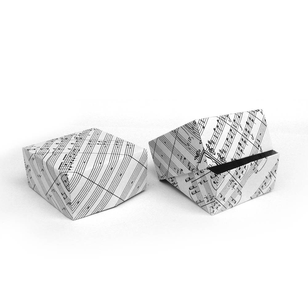 2 origami music sheet paper boxes