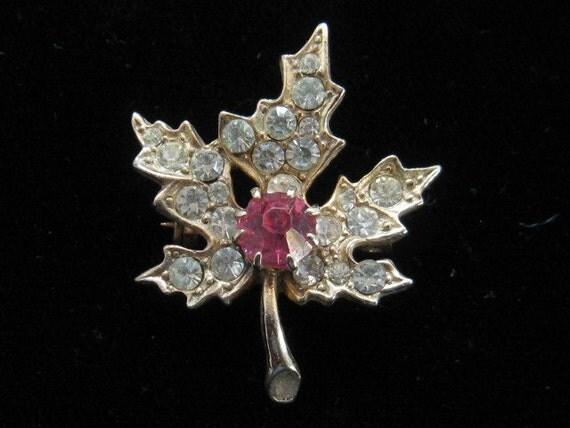 Vintage Pink & Clear Rhinestone Maple Leaf Pin Brooch 1950s