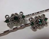 Elegant Emerald Green Swarovski Crystal Element Bobby Pins