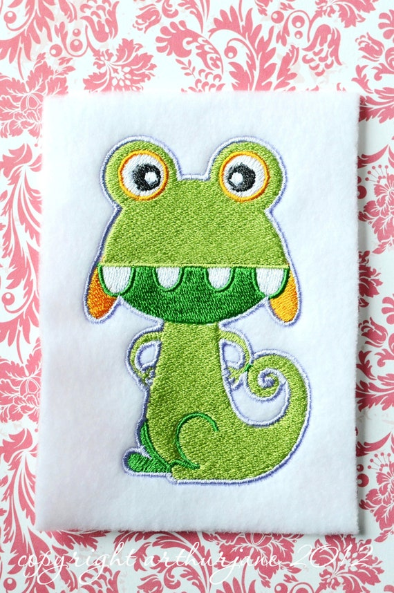 Light Green Monster, INSTANT DIGITAL DOWNLOAD, Embroidery Design for Machine Embroidery 4x4