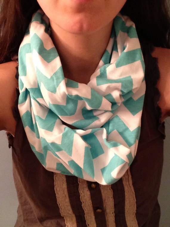 Chevron nursing  infinity scarf. Blue and white. Nursing cover.