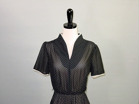 Vintage 70s CROCHET SECRETARY Dress / Black and Cream Polka Dot / Sheer Pleated / XS S