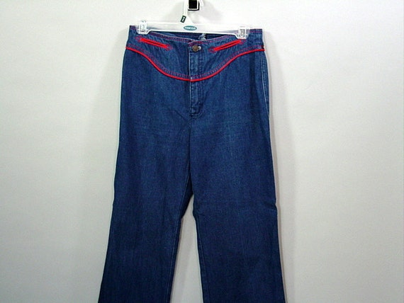 1970s HIGH WAISTED Jeans / Dark Denim / Wide Leg / S M