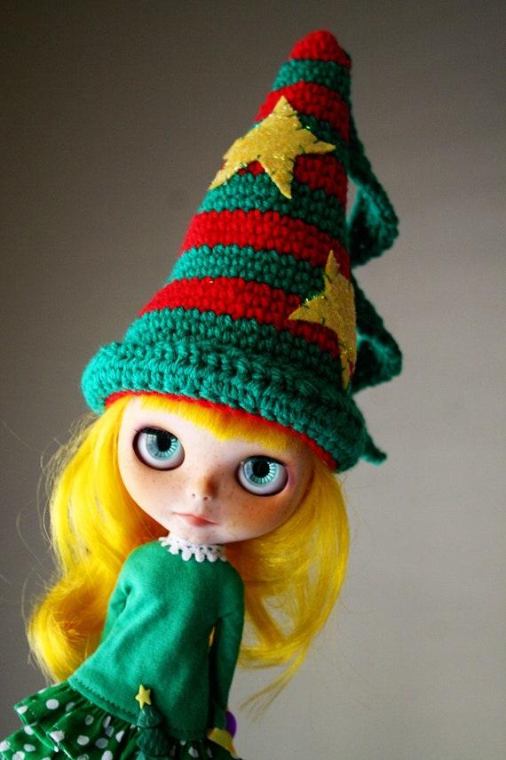 OOAK - Elf Christmas Hat for Blythe - Merry Christmas