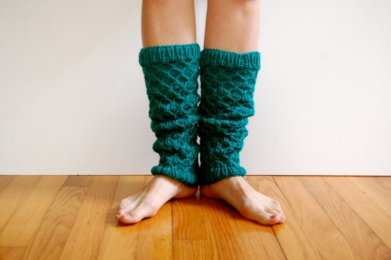Leg Warmers, Knitted Honeycomb Texture in Teal Wool