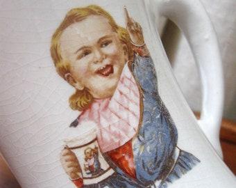 Vintage Hires Root Beer Mug Stoneware Pottery Boy 1900s