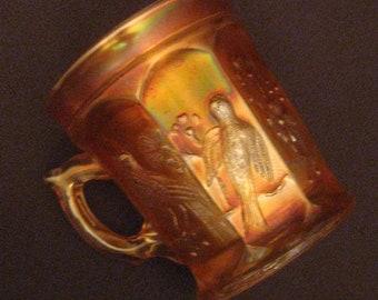 Vintage Carnival Glass Mug Singing Birds Marigold Orange Northwood Unstippled 1920s