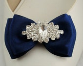 Set of 2 Shoe Clips in Navy Blue Bow  with Sparkly Rhinestone Crystal Clear Wedding Shoe clips Bridal Shoe Clips
