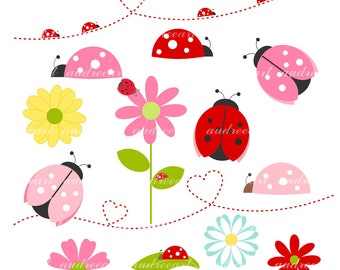 Ladybug Clip Art'- Bug Clip Art. Cute Insect Clip Art,Instant download,Bugs,Bug,Personel and commercial use