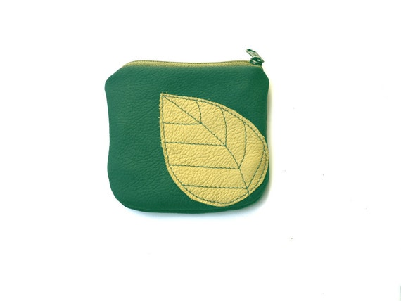 Honey Gold Bag Honey Gold Forest Green Leather Change Pouch Fall Leaves leather Bag, holidays gift for her