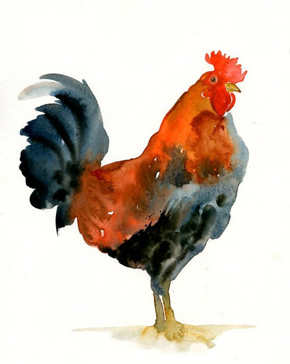 ROOSTER  Original watercolor painting 8x10inch