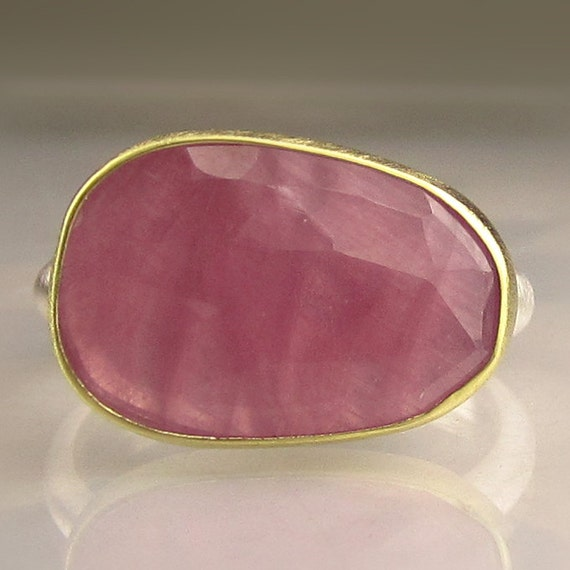 Natural Rose Cut Pink Sapphire Gemstone Ring - 18k Gold and Sterling Silver, Cocktail Ring