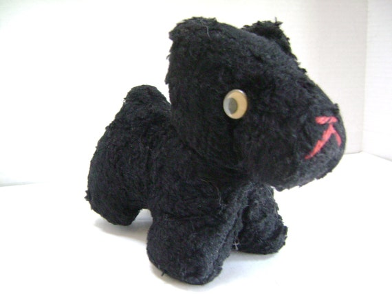 Vintage Scottie Dog, Plush stuffed toy, Googly Eyes, Love Worn, Scottish Terrier, How Much Is That Doggy in the Window