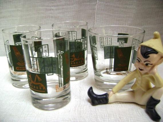 Four Vintage Egyptian Drinking Glasses, Cocktails, Orange Juice Whiskey, Barware, 30s retro King Tut, Mid Century, Walk Like An Egyptian
