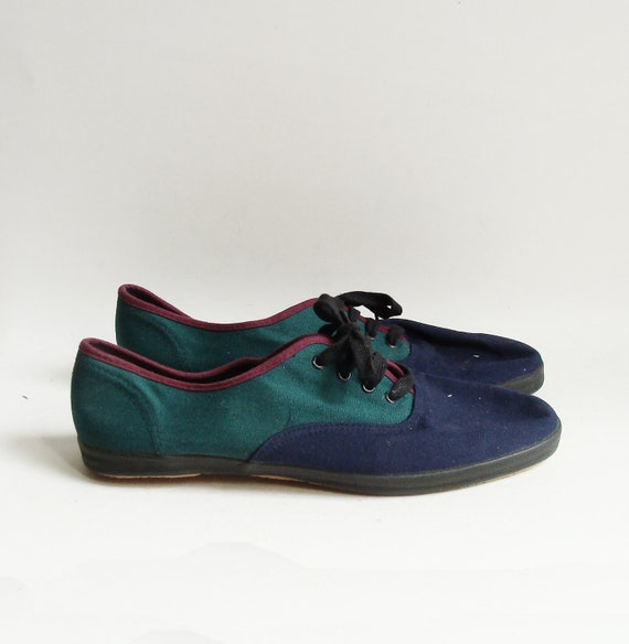 shoes 11 / oxford sneakers / lace up flats / 90s 1990s colorblock flats / womens size 11 / vintage shoes