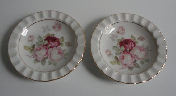 Schumann Arzberg Germany Golden Crown Antique Rose  Dishes. Set of 2