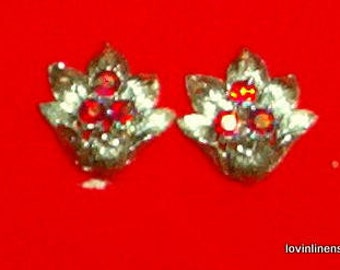 Red Aurora Borealis Rhinestone Clip Earrings Coro