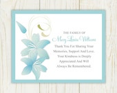 Lily Funeral Thank You Card  Printable Digital file Sympathy Card
