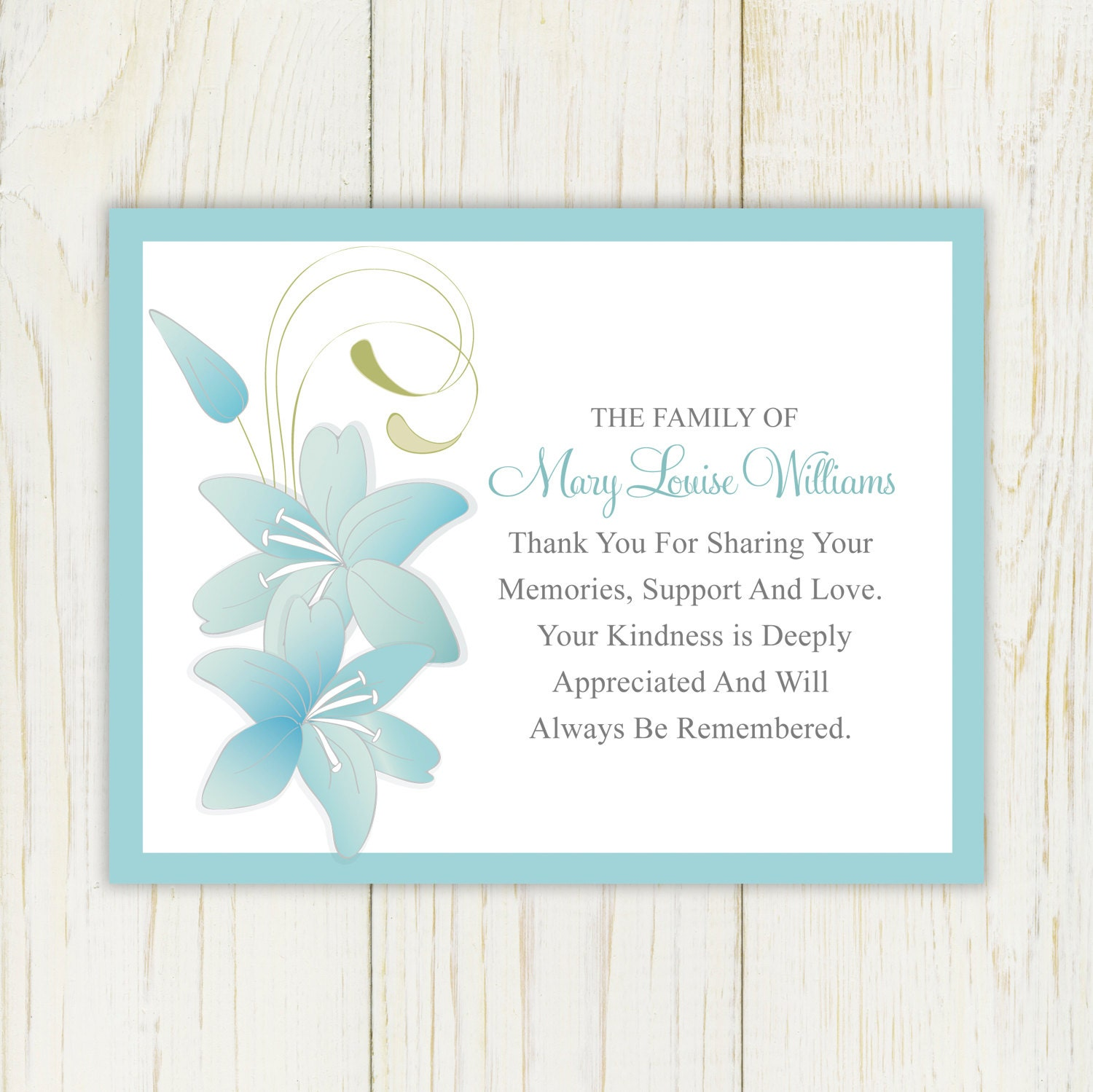 Lily Funeral Thank You Card Printable Digital file Sympathy