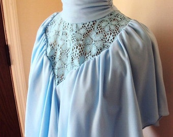 Vintage French Blue Formal Dress with Lace Long High Neck Collar with Rouching