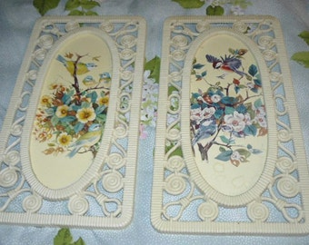 Fun Vintage Pair 1977 Syroco Wicker Look a Like Picture Frames Ultimate Retro Design