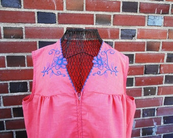 Vintage 1970s Pink and Blue Latin American Embroidered House Dress Muumuu Summer Shift Dress by Montgomery Ward  S/M