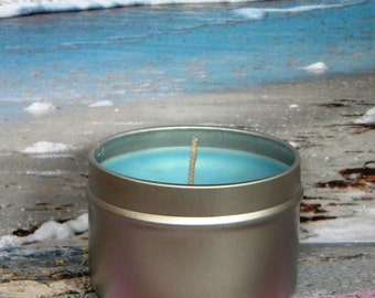 SEA OF LOVE Scented Soy Candle - Sea Breeze, Freesia & Musk Handmade Soy Candle Tin