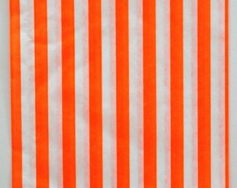 Set of 50 - Traditional Sweet Shop Orange Candy Stripe Paper Bags - 5 x 7 New Style