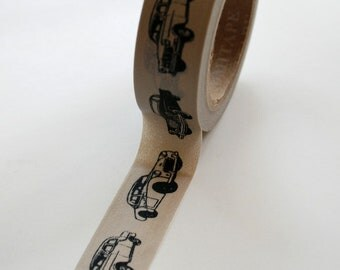 Washi Tape - 15mm - Black Vintage Cars on Grey - Deco Paper Tape No. 396