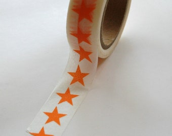 Washi Tape - 15mm - Orange Large Stars on White Pattern - Deco Paper Tape No. 378
