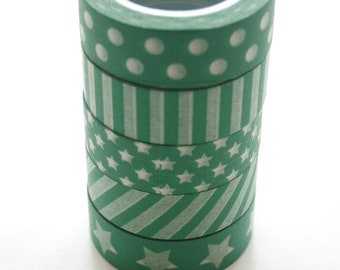 Washi Tape Set - 15mm - Combination ET - Holiday Green - Five Rolls Washi Tape 454/462/463/464/475