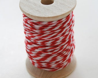 Baker's Twine - 20 Yards - Maraschino Red Rouge 4 Ply Twine on Wooden Spool